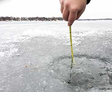 Stay off the ice until there's at least 4 inches of new, clear ice.