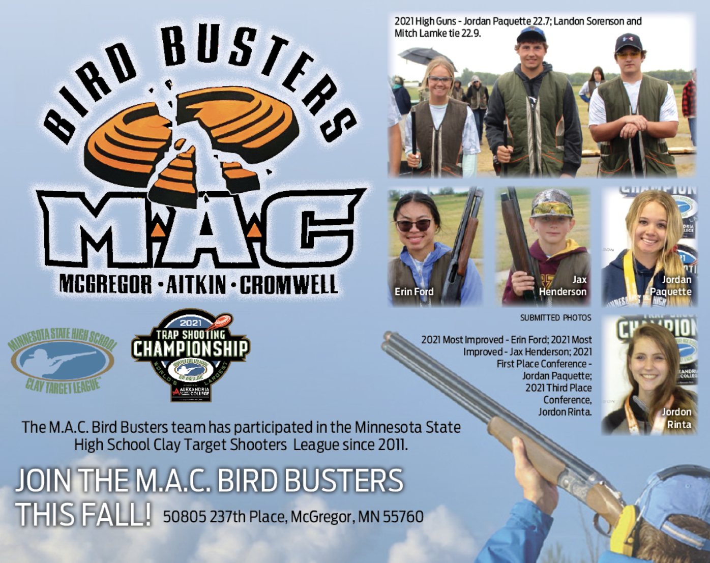 Join the M.A.C. Bird Busters this fall!