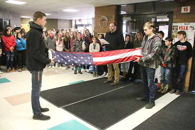 Veterans Day at Isle High School - flag