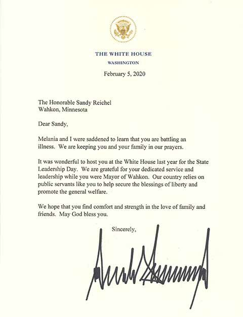 White House letter to Sandy Reichel