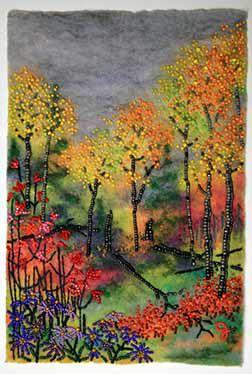 """""""Autumn Days"""" - bead 'painting' on felt, Jo Wood."""
