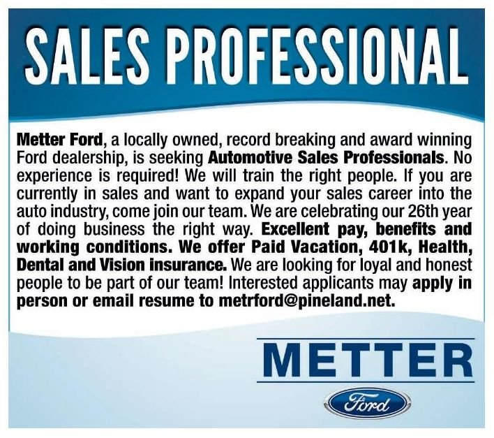 Help wanted - Sales professional - Metter Ford