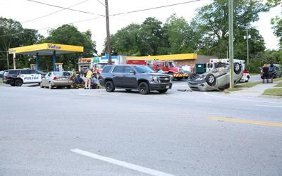 Car overturns during crash