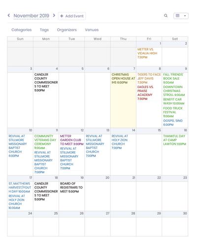 Metter Master Calendar for November