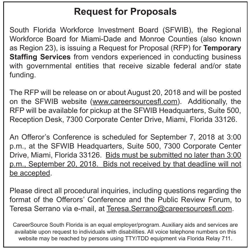 Request for Proposals | Legal Announcements | miamitimesonline com