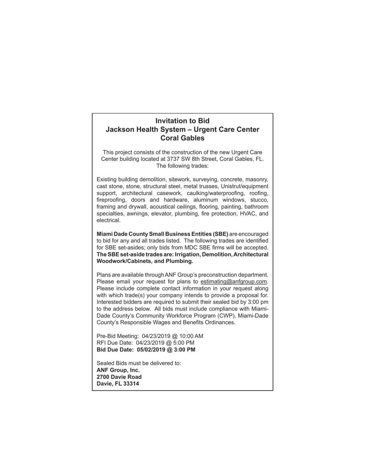 Invitation to Bid Jackson Health System – Urgent Care Center