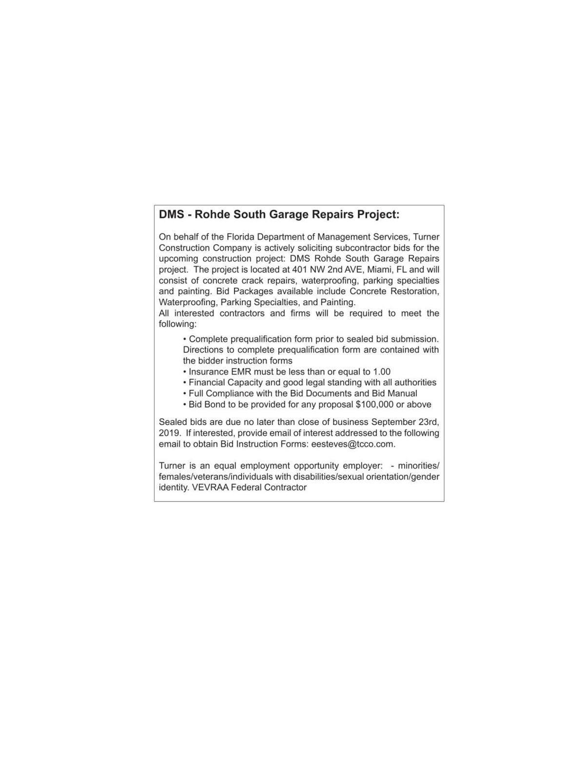 DMS - Rohde South Garage Repairs Project: