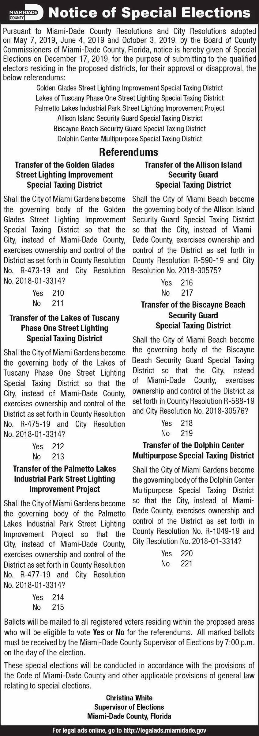 Notice of Special Elections