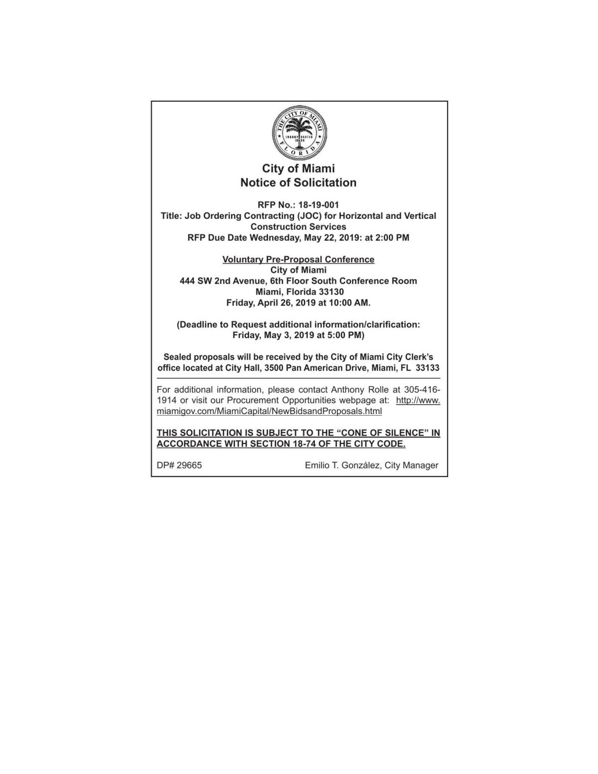 City of Miami Notice of Solicitation 18-19-001