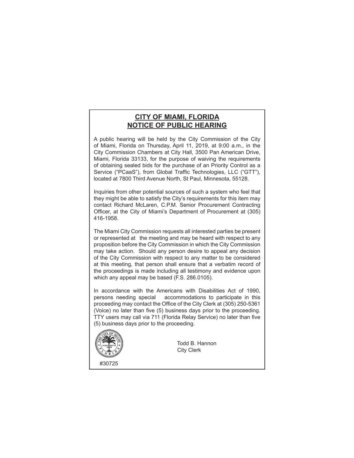 CITY OF MIAMI, FLORIDA NOTICE OF PUBLIC HEARING