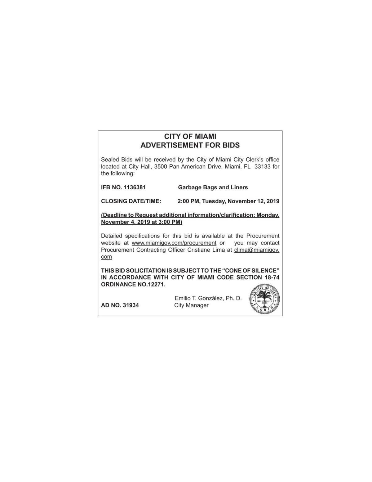 CITY OF MIAMI IFB NO. 1136381