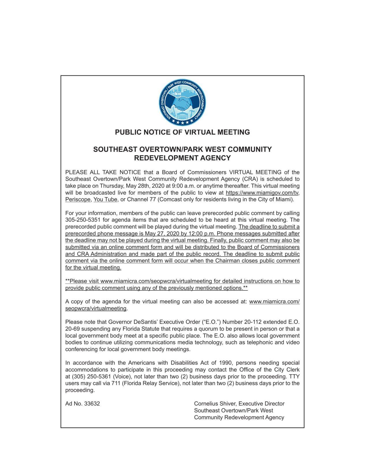 PUBLIC NOTICE OF VIRTUAL MEETING