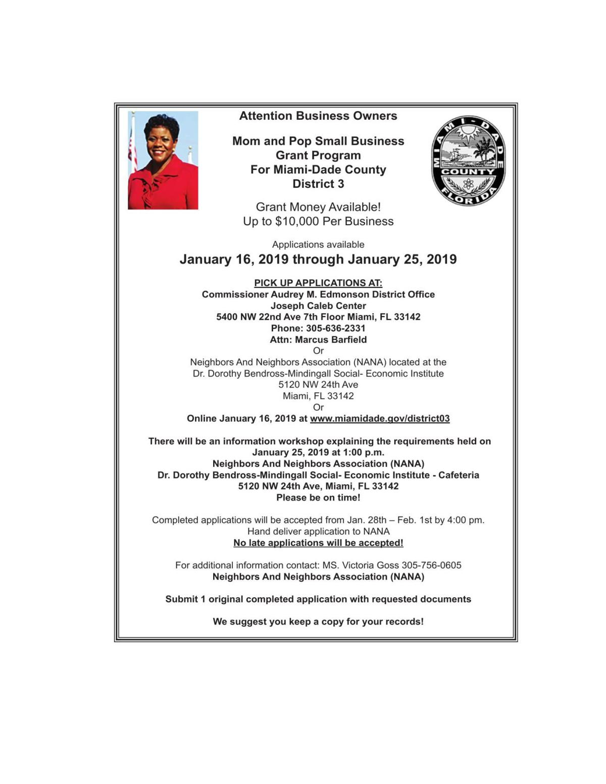 Mom and Pop Small Business Grant Program For Miami-Dade County District 3