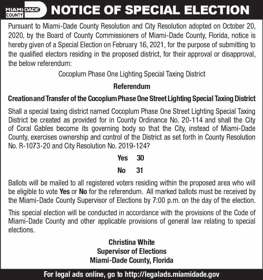 NOTICE OF SPECIAL ELECTION