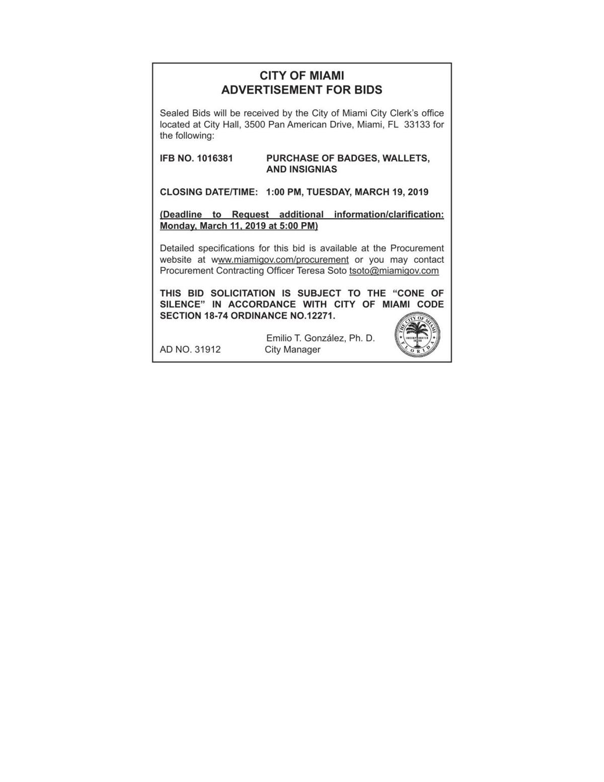 CITY OF MIAMI ADVERTISEMENT FOR BIDS