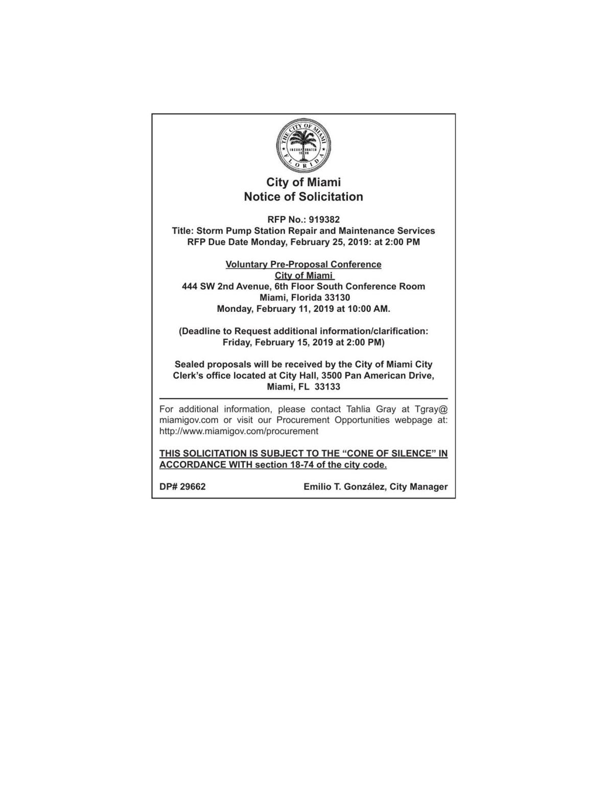 City of Miami Notice of Solicitation RFP No.: 919382