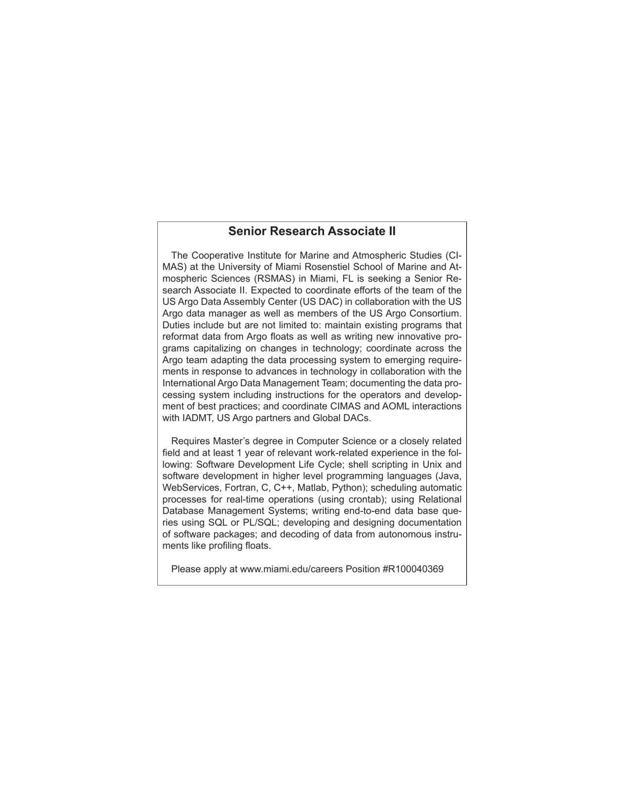 Senior Research Associate II