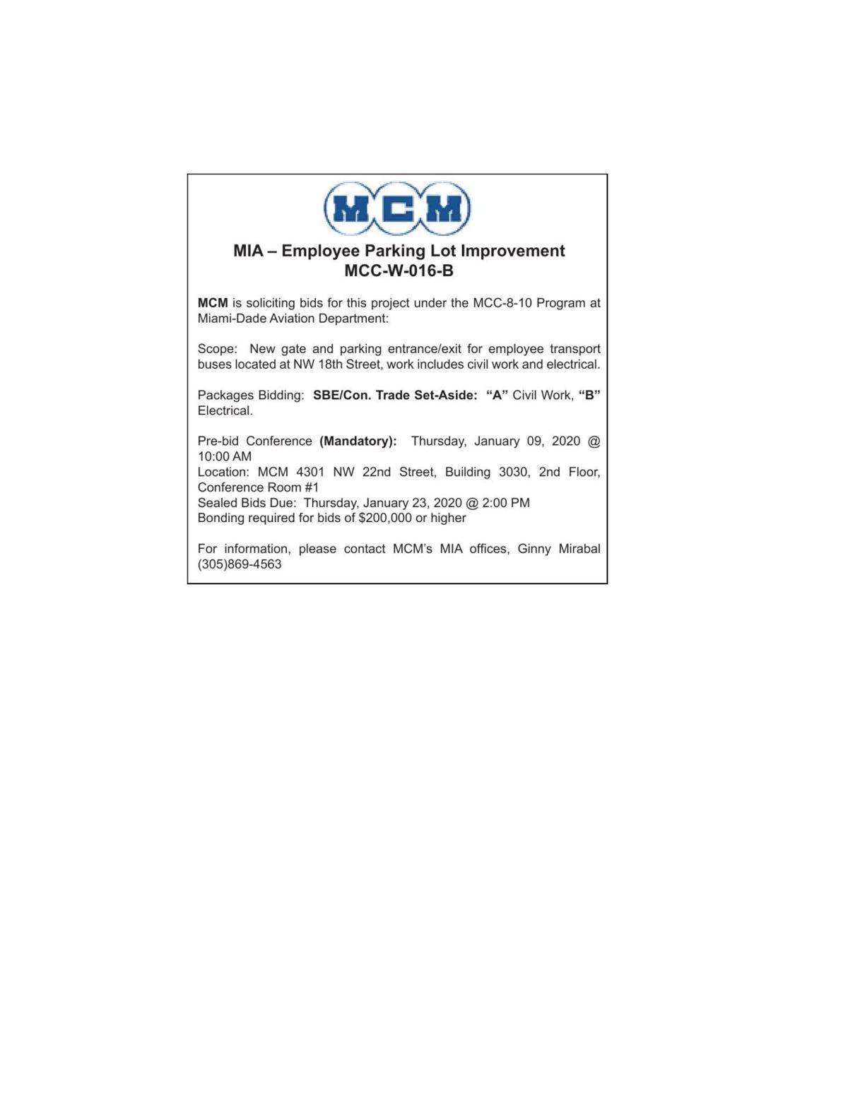 MIA – Employee Parking Lot Improvement