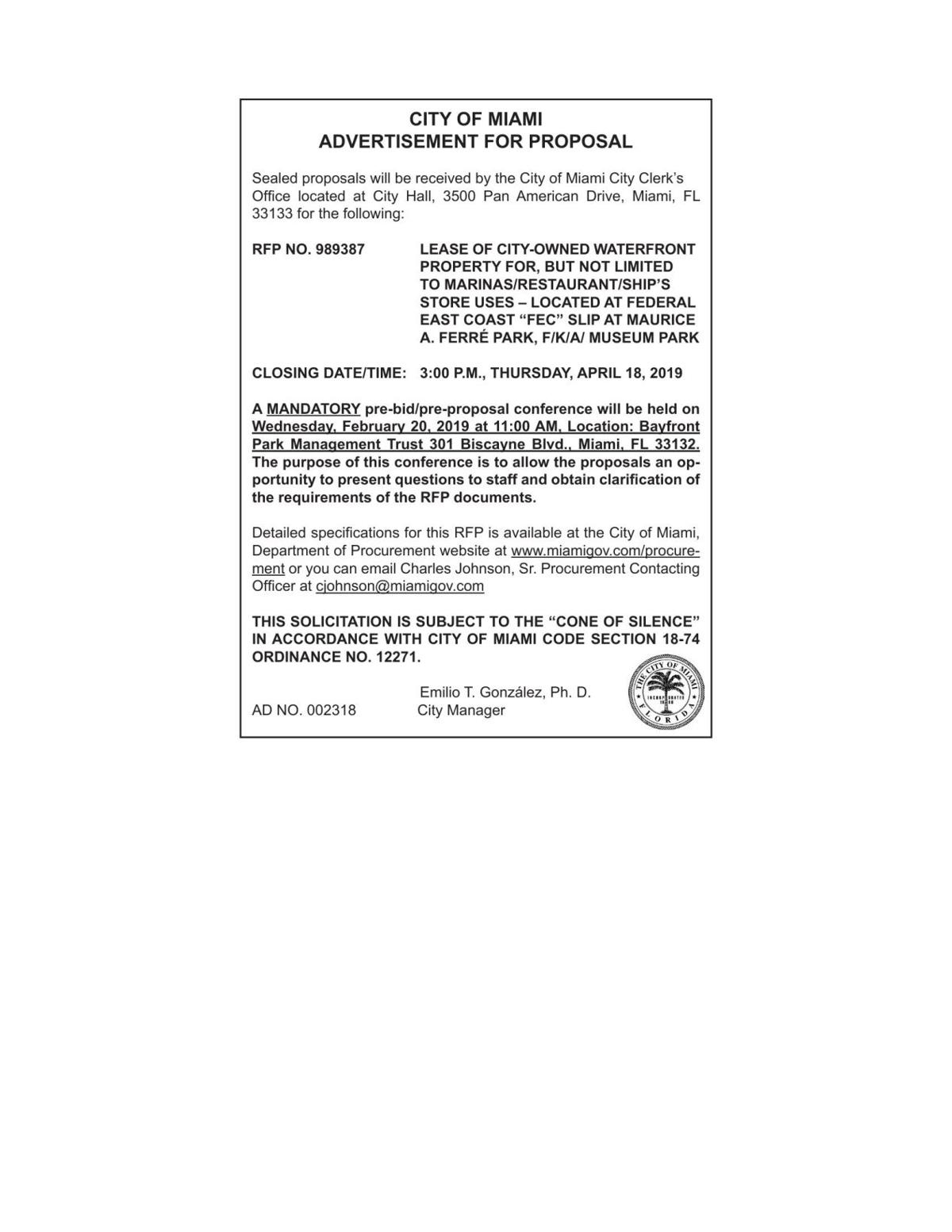 CITY OF MIAMI ADVERTISEMENT FOR PROPOSAL 002318