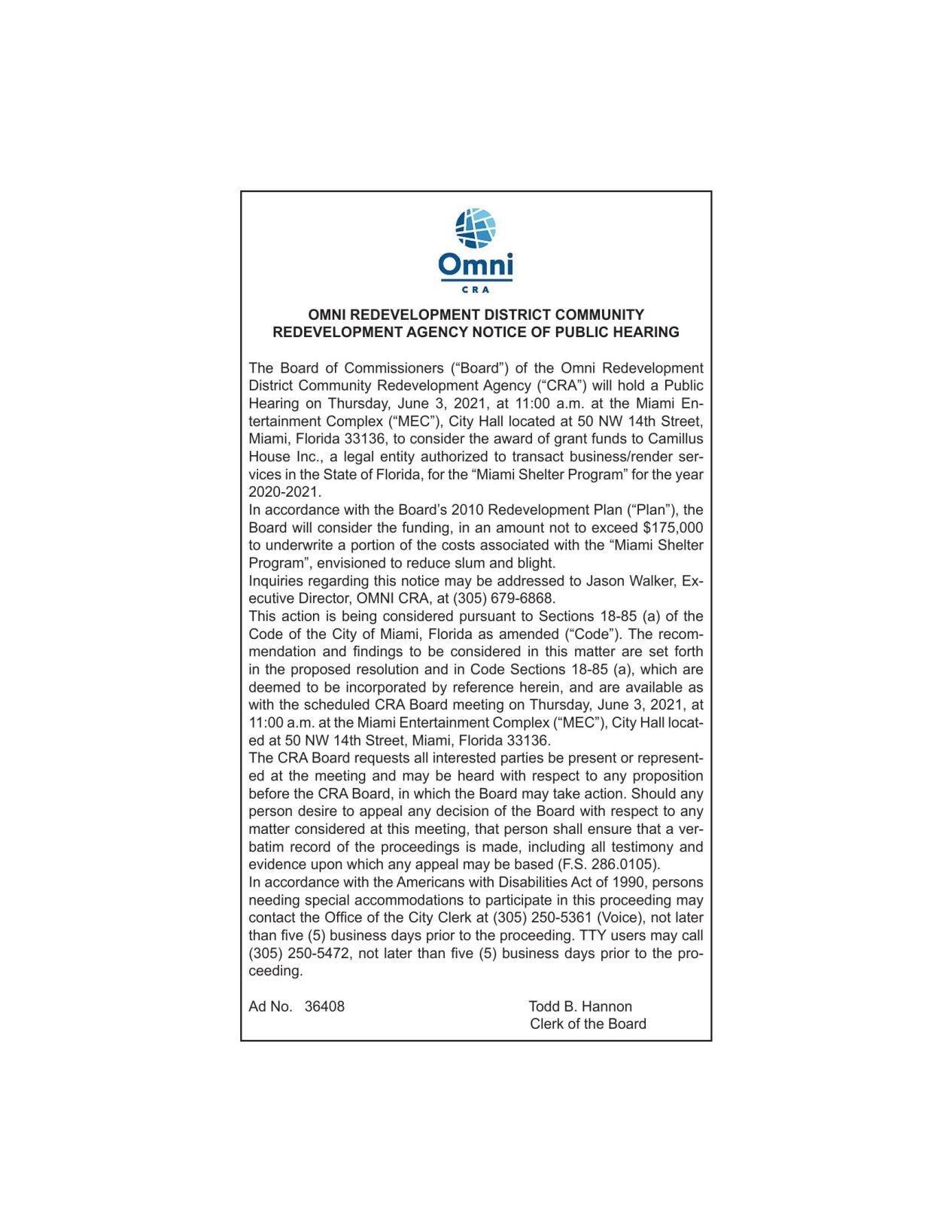 OMNI REDEVELOPMENT DISTRICT COMMUNITY