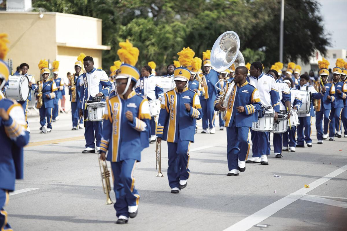 A school marching band entertaining the crowd