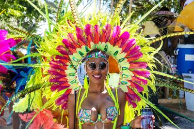 A costumed Miami Carnival attendee