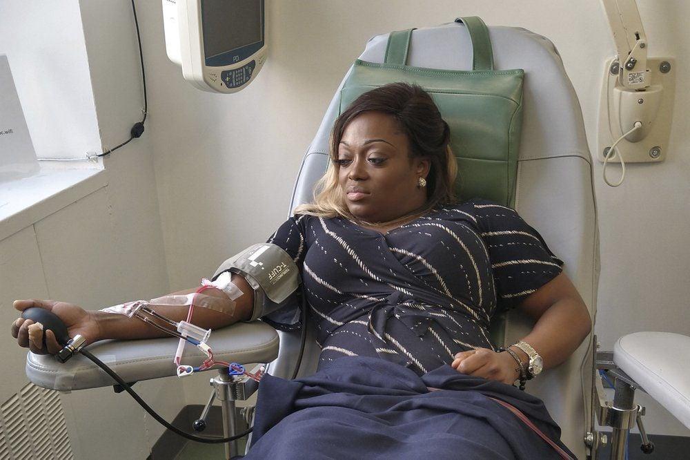 Tiffany donating blood