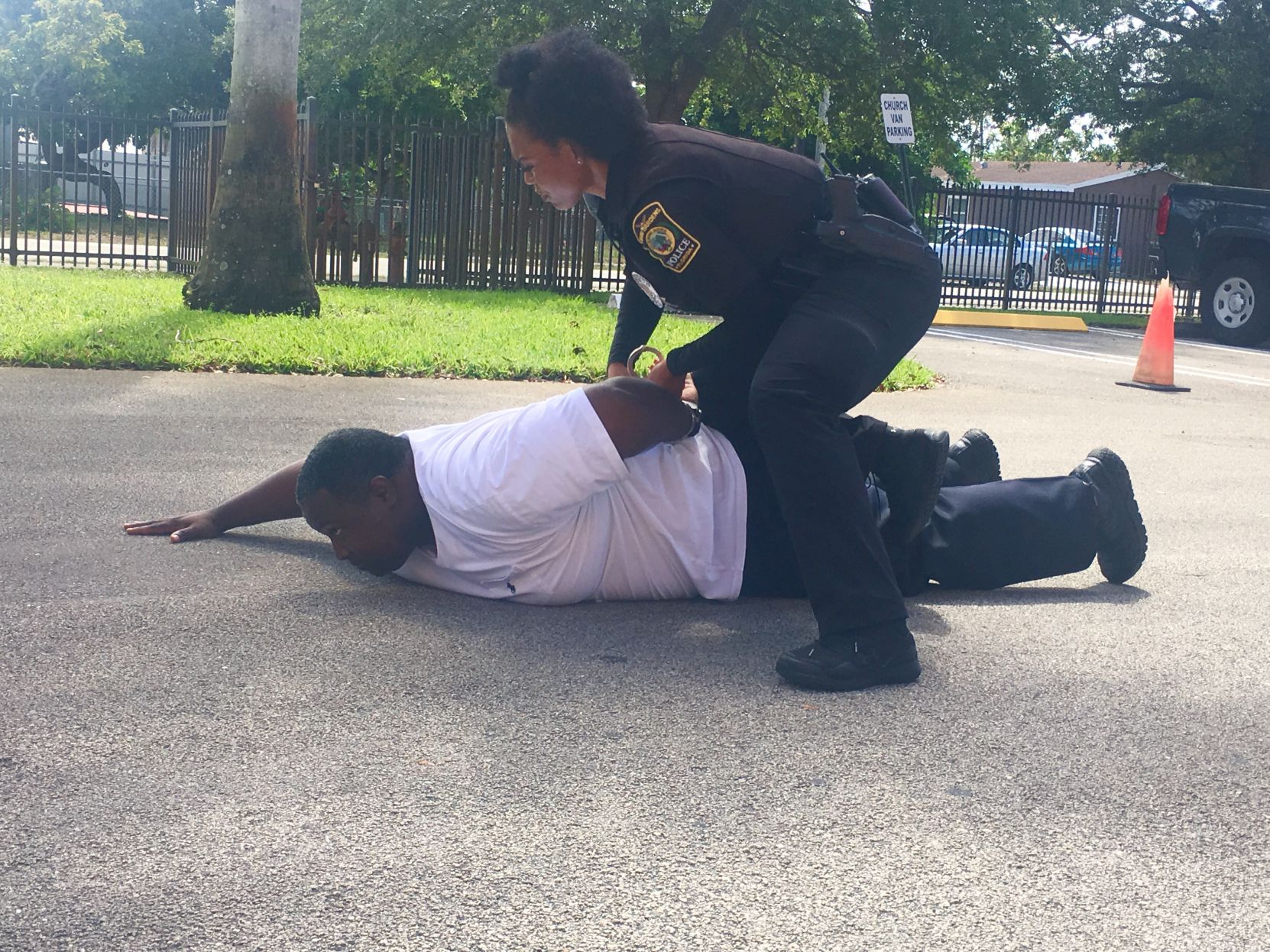 Mock arrest at traffic stop demonstration | Miami Times Online