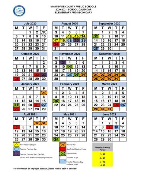 MIAMI DADE COUNTY PUBLIC SCHOOLS 2020 2021 SCHOOL CALENDAR