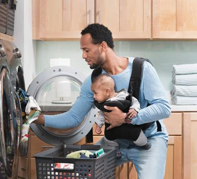 Dad doing laundry