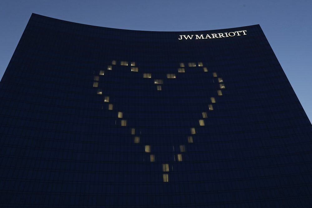 A heart shining on the side of the JW Marriott