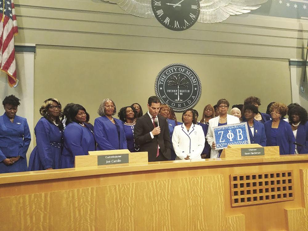 Mayor Suarez with Zeta Phi Beta Sorority members
