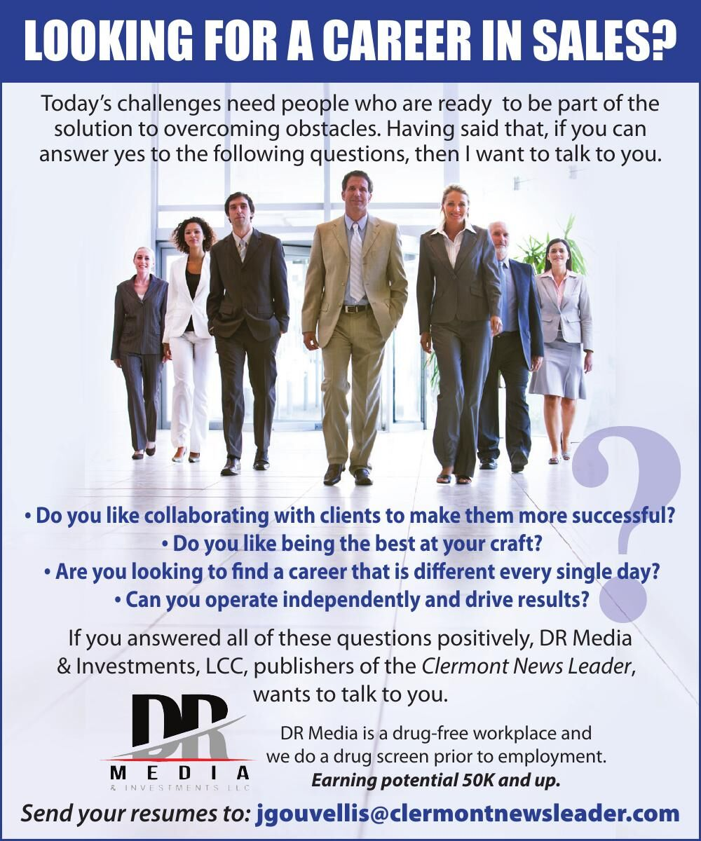 LOOKING FOR A CAREER IN SALES?
