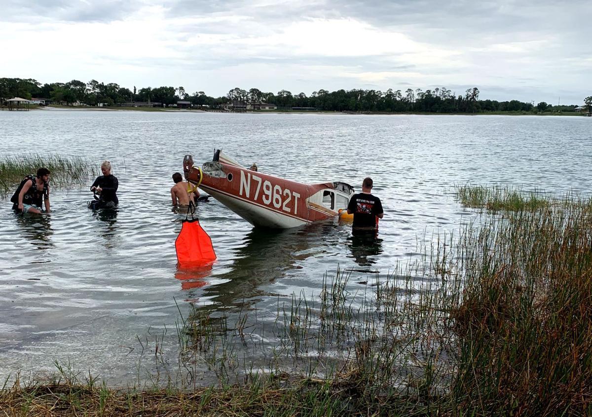 Fuselage going into Lake Denton