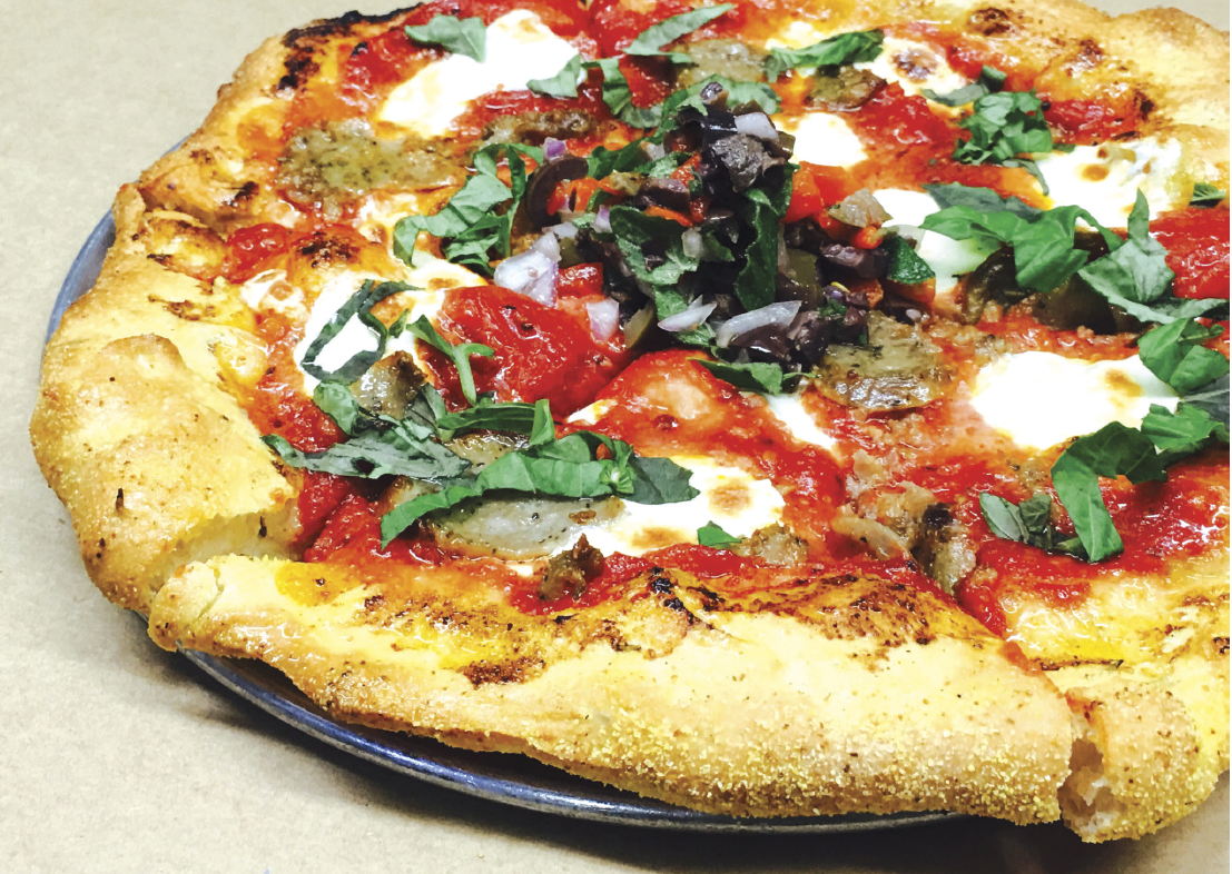 pizza features plum tomato sauce