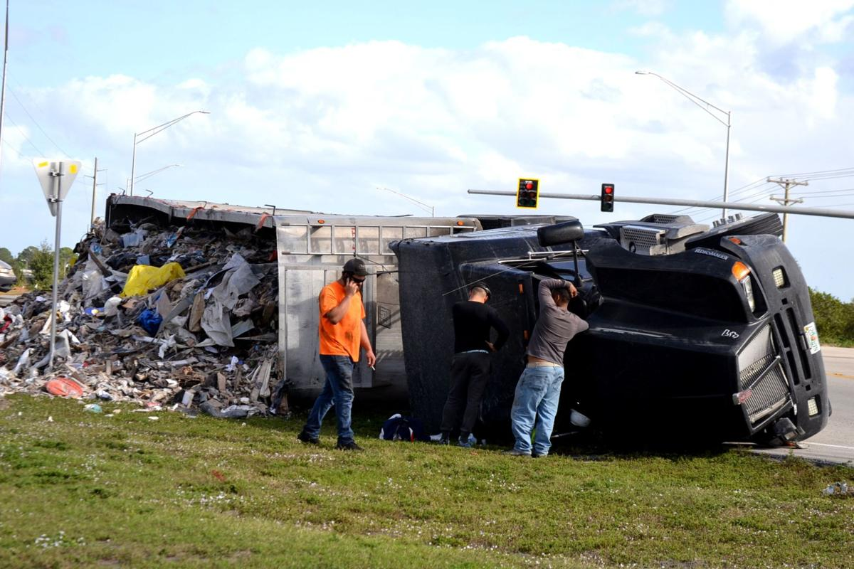 Overturned semi at US 27 and State Road 70