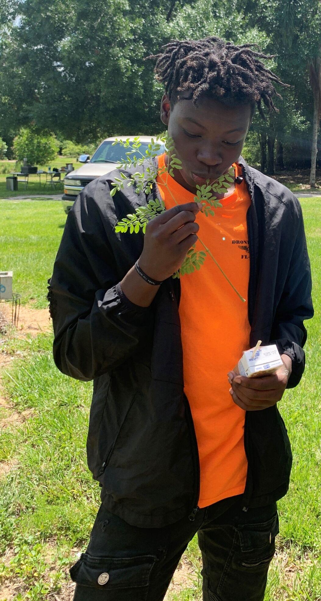 Cadet eats plant