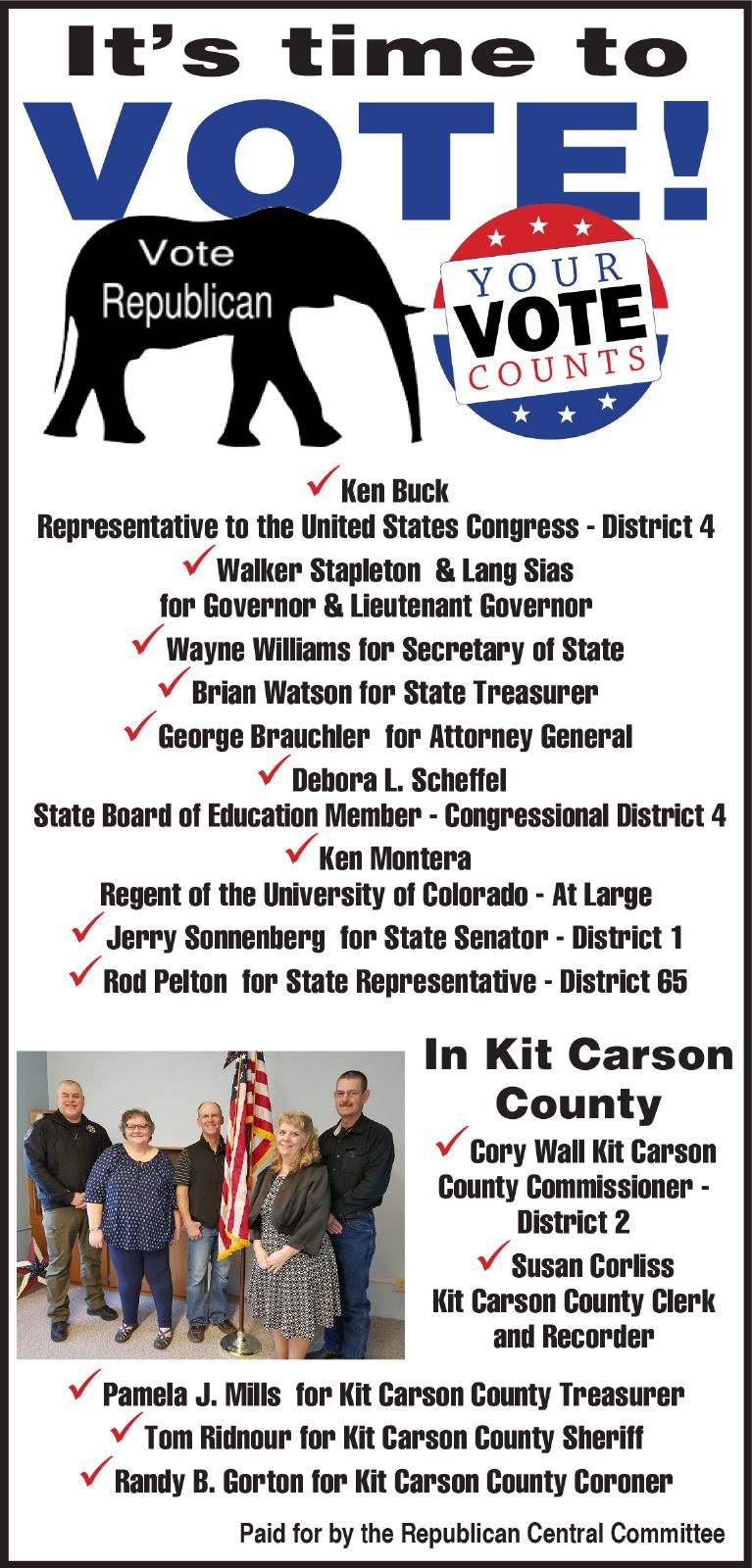 It's Time to Vote - Kit Carson County Republic Committee