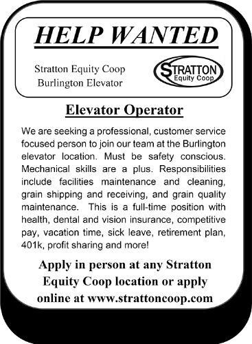 Elevator Operator Wanted - Stratton Equity Coop
