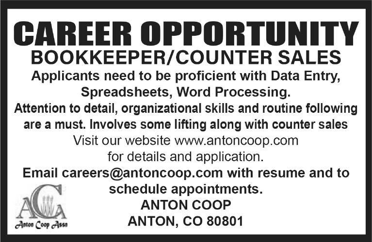 Office Associate/Bookkeeper Wanted - Anton Coop
