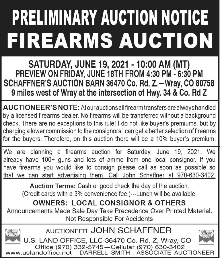 Preliminary Auction Notice Firearms Auction
