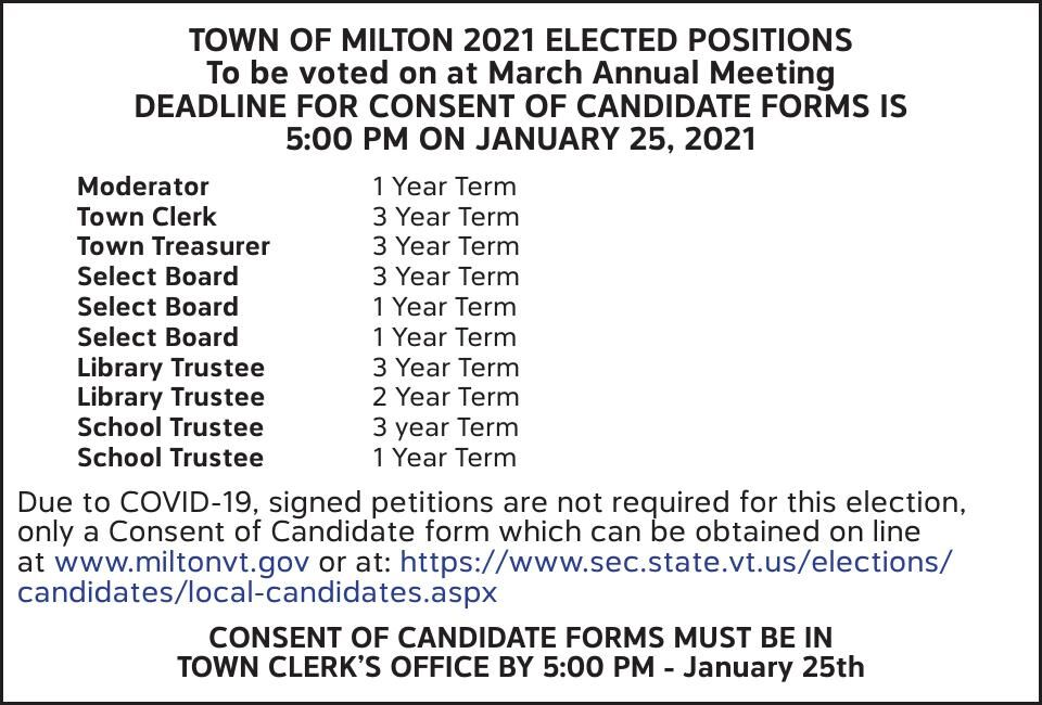 TOWN OF MILTON 2021 ELECTED POSITIONS
