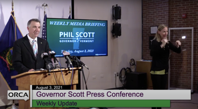Governor Phil Scott at his weekly press briefing Aug. 3