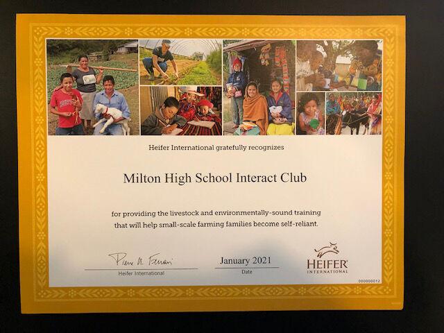 Milton Interact donates to Heifer