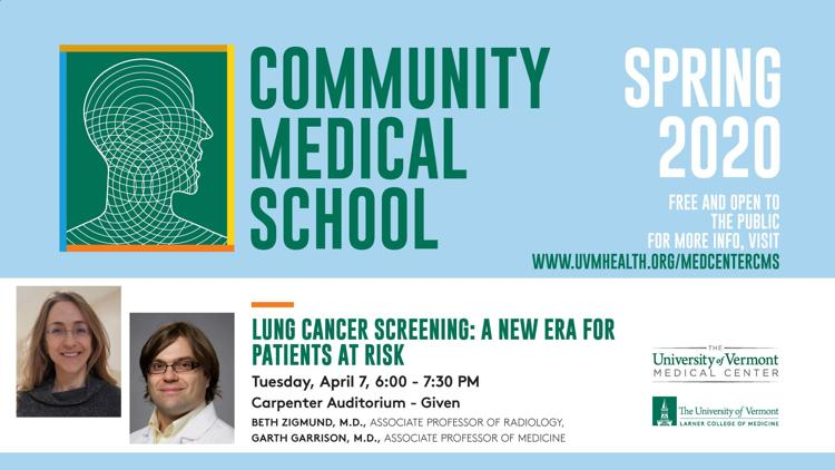 """Community Medical School Presents: """"Lung Cancer Screening: A New Era for Patients at Risk"""""""