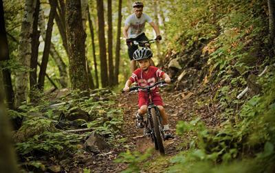 Kid mountain biking