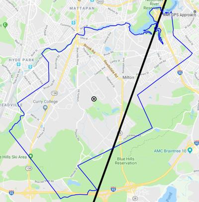 The flight path over Milton