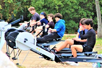 Rowing practice with a scenic view