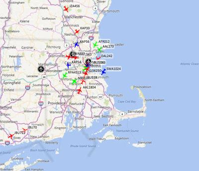 Real-time map of flights in and out of Logan Airport