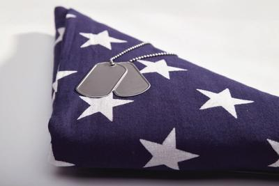 Folded Flag with Dog Tags